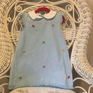 Girls 4T blue seersucker dress